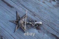 Antique French Victorian 18k Gold Silver Diamonds Star Pendant Brooch
