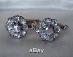 Antique French Victorian 2.5ct rosecut Diamond 18ct Rose Gold Leverback Earrings