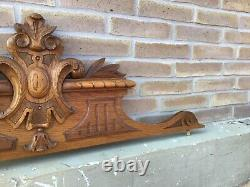 Antique French Victorian Carved Wood Architectural wall Door Pediment 1900s