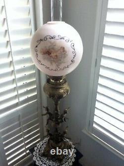 Antique French Victorian Cherub Parlor Lamp