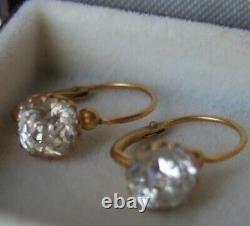 Antique French Victorian Cushion-cut Crystal'Diamond' Paste Dormeuses Earrings