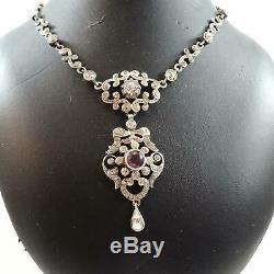 Antique French Victorian Edwardian Paste Lavaliere Pendant Necklace