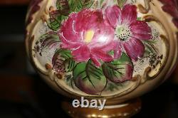Antique French Victorian Hand Painted Colorful Floral Table Lamp #1 Signed