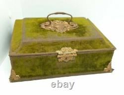 Antique French Victorian Jewelry Box Green Velvet with Tufted Silk Interior 19th