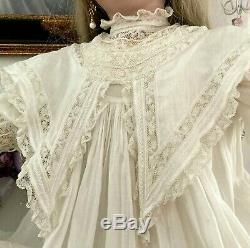 Antique French Victorian Lace Cotton DressFor LARGE Jumeau, Bru, or German Doll