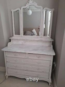 Antique French Victorian Marble Oak Chest of Drawers Dressing Table & Mirror