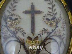 Antique French Victorian Mourning Hair Art Convex Glass Frame Reliquary 1896