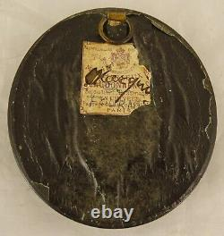 Antique French Victorian Mourning Hair Art Convex Glass Frame Reliquary -1898