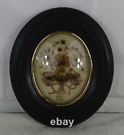 Antique French Victorian Mourning Hair Art Convex Glass Frame Reliquary 1898