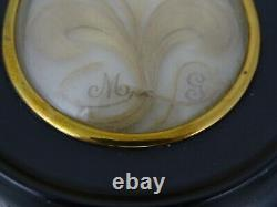 Antique French Victorian Mourning Hair Art Convex Glass Frame Reliquary Blond