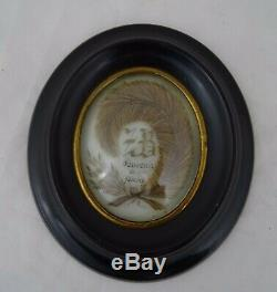Antique French Victorian Mourning Hair Art Convex Glass Framed Reliquary