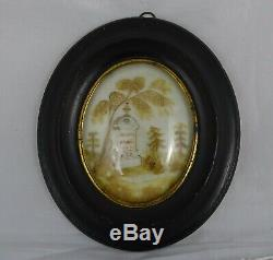 Antique French Victorian Mourning Hair Art Ebony Frame Reliquary