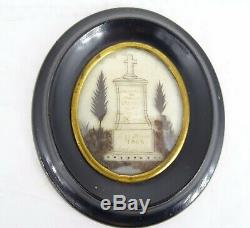 Antique French Victorian Mourning Hair Art Ebony Frame Reliquary dated 1862