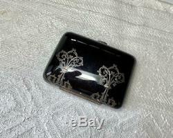 Antique French Victorian Pique Purse Silver Inlaid Coin Wallet Napoleon III