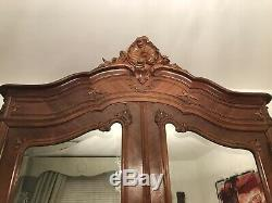 Antique French Walnut Armoire Wardrobe Mirrored 19th Century Tall Victorian