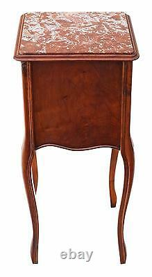 Antique French Walnut marble bedside table cupboard cabinet