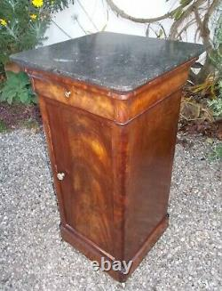 Antique French bedside cabinet, pot cupboard, mahogany, marble top