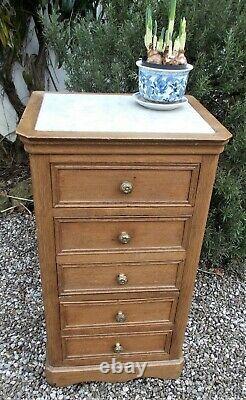Antique French bedside cabinet, pot cupboard, oak, marble top