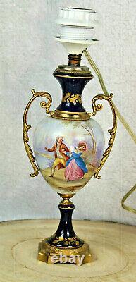 Antique French cobalt blue sevres porcelain marked victorian scene lamp