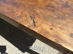 Antique French fruit wood TABLE kitchen dining 7ft3 rustic seats 10 cleated ends