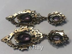 Antique Georgian Earrings Gold Silver Amethyst Early Victorian French or English