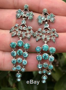 Antique Georgian Victorian French Sterling Silver Girandole Blue Paste Earrings