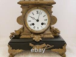 Antique Japy Freres French Victorian Black Slate Figural Statue Mantel Clock 17