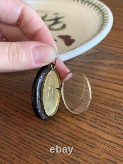 Antique Large Black ENAMEL Gold Fill Victorian Mourning Locket Pendant French