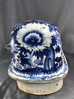 Antique Lavabo Wall Pocket Water Sink Garden Fountain French Wash Basin Blue Art