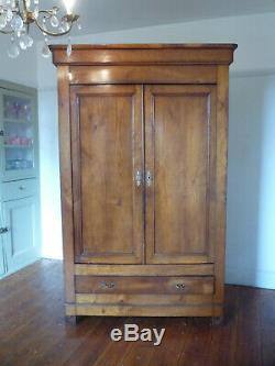Antique Louis Philippe French Armoire Linen Cupboard