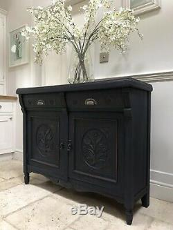 Antique Mahogany Victorian Painted French Navy Sideboard Server Cupboard