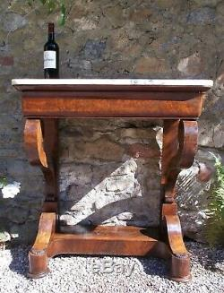 Antique Marble Top Console Table c. 1840, side table, drinks table, French