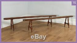 Antique Pair of 7ft 10 French Provincial Cherry Wood Kitchen Benches Circa 1860