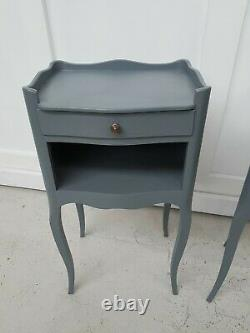 Antique Pair of His Hers French Oak Bedside Tables Painted Shabby Chic