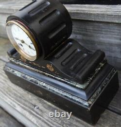 Antique Platnauer Freres French Victorian Black Marble Slate Mantel Clock 1800s