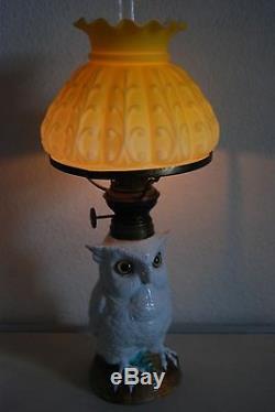 Antique Porcelain Ceramic Kerosene Oil Owl Dresden Meissen French Figurine Lamp