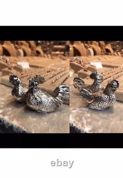Antique Solid Silver French German Novelty Salt Pepper Chicken Rooster Figure