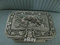 Antique VICTORIAN French BRONZE ARGENTE Casket DOG Hunt BOAR FOX Deer RABBIT