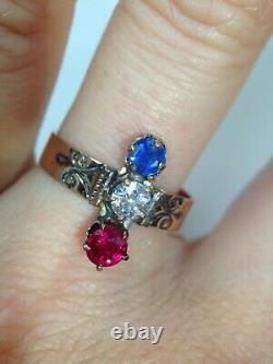 Antique Victorian 14K Rose Gold Red Ruby Diamond Sapphire French Ring 8.5