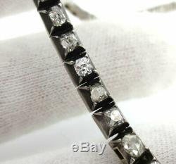 Antique Victorian 15.0ct French Cut Diamond Silver & Gold Rivière Necklace