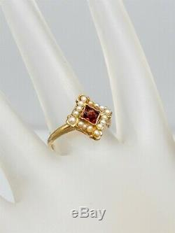 Antique Victorian 1880s Natural French Cut Garnet Pearl 14k Yellow Gold Ring