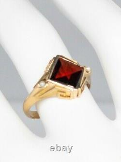 Antique Victorian 1880s WWW 2ct French Cut Garnet Pearl 14k Yellow Gold Ring