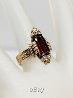 Antique Victorian 1890s 3ct French Cut GARNET Pearl 10k Yellow Gold Band Ring