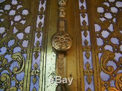Antique Victorian 19th French Pair Door Panels Brass & Gilt Bronze Art Nouveau