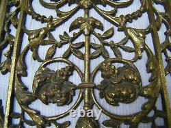 Antique Victorian 19th French Pair Door Panels Solid Bronze Ormolu Art Nouveau
