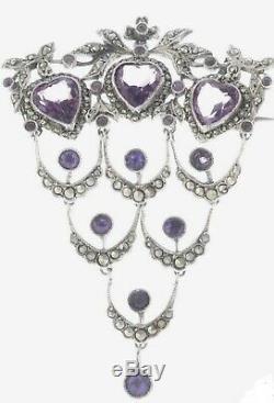 Antique Victorian Brooch Sterling Silver Amethyst 1800s French Boar Hallmarks