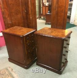 Antique Victorian Burr Walnut Bedside Cabinets Beautifully French Polished