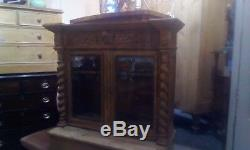 Antique Victorian Carved Pine French Glazed Top Kitchen Dresser With Key