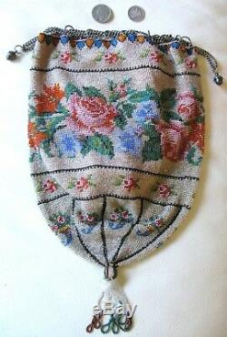 Antique Victorian Crochet Rose Floral French Micro Bead Tassel Reticule Purse