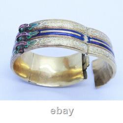 Antique Victorian Cuff Bangle Corset Bracelet 18k Gold Enamel Rubies French6861
